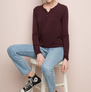 Brandy Melville | Burgundy Callan Thermal Top